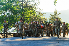 Cadet Cadre Learn Value of Teamwork During First 100 Yards Demo