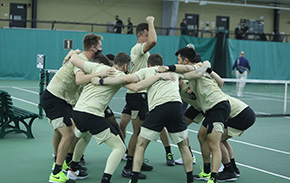 Men's Tennis Sweeps Boston on the Road
