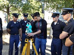 CME Lab Technician Mr. Chong Ahn instructs CDTs L-R Buan-AlHanzab-Murray-Jager on how to level a total station