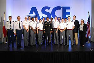 Members of the West Point ASCE Student Chapter with LTG Tom Bostick, Chief of Engineers