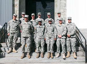 CDTs in front of the Old Cadet Chapel in the West Point cemetery