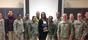 Earlina Green with the PL371 Introductory Sociology class after her discussion