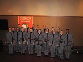 Cadets in the NYU Skirball Center following a performance by Mummenschanz