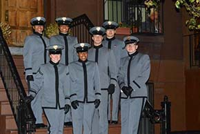 The cadets recreate the 1958 photograph of A Great Day in Harlem at the photo's original site