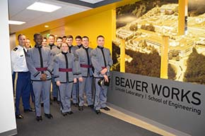 USMA Cadets and faculty at Beaverworks a Lincoln Laboratory facility located on the MIT campus