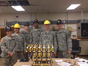 Team Marky Marc & the Funky Boys pose with their winning Hall project L-R CDTs Imelio-Gallegos-Kiesewetter-Phillips-Callaghan-Project mgr Kobylski