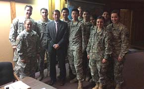 Terry Szuplat visits with CDTs following his lecture on writing speeches