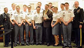 DEP Faculty members and cadets pause for a snapshot with LTC -R-John Nagl after his talk