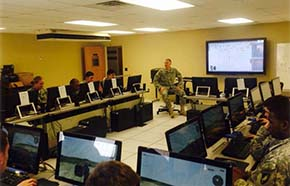 LTC Schustrom instructs DoSE CDTs on employment of virtual training simulation for training