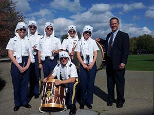 Professor Martin Flaherty with members of the West Point Band