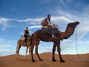 Cadet Wilkes and a fellow student cross the Moroccan desert aboard the timeless Arab transport