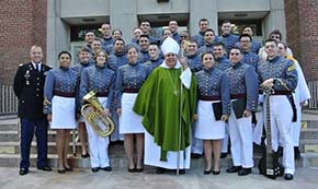 Catholic Choir poses with Bishop Cruz Auxiliary Bishop of Newark