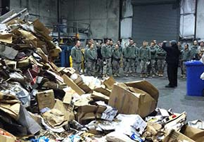 Cadets inside the operations building at the USMA Recycling Facility