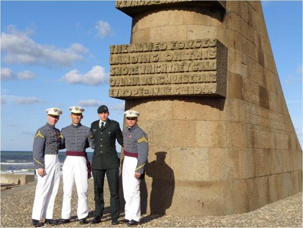 CDTs Chad Sweatt, Peter Lee, and Rozier Cody (attending the Université Catholique de Lille) visited various memorials along Omaha Beach in remembrance of