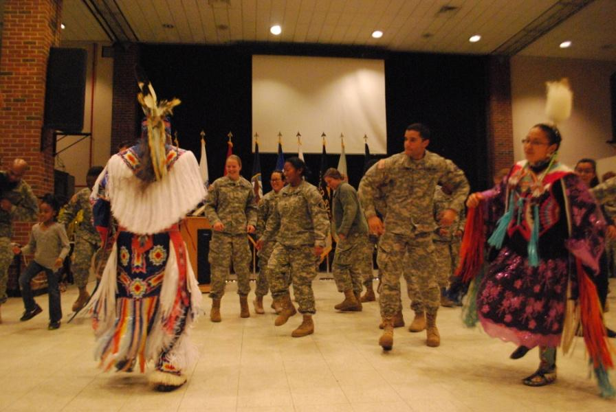 Cadets and community members participate in some of the social dances.