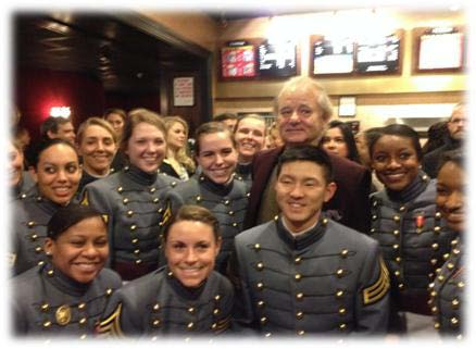 Cadets from PL488D and Bill Murray at the premiere of the movie Monument's Men at the Ziegfeld Theater in NYC.