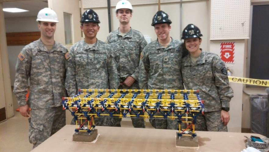 "Team ""Ballerz 2.0"" poses with their winning Bridge project. From left to right: CDTs Dustin Homan, Rey Molina, Brad Wagner, Project Manager Christian McCollum, and Shirley Albritton."