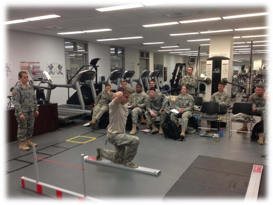 "E-Psych cadets in PL394 ""Anthropometrics and Biomechanics"" visited the Physical Therapy clinic at Arvin CPFC to learn about the Functional Mobility Screen."