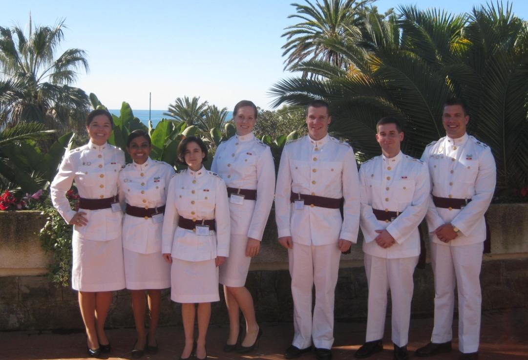 Law Major Cadets Meghan Mitchiner, Gabrielle Mangru, Allyson Hauptman, Brianna Miller, James Doyle, Andrew Fitzsimmons, and Jared Heslop at the International Institute of Humanitarian Law in Sanremo, Italy.