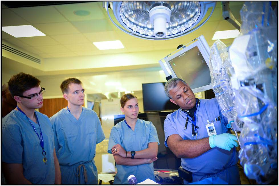 Mr. Peter Carnegie, USMA '95, and the cadets in the robotic surgery room at the Nicholson Center of the Florida Hospital in Celebration, FL.