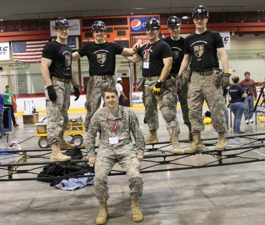 Steel Bridge Team with Cadets Matt Shinkwin, Cody Bye, Tyler Roden, Alex Cansler, and Bruce Merrill.