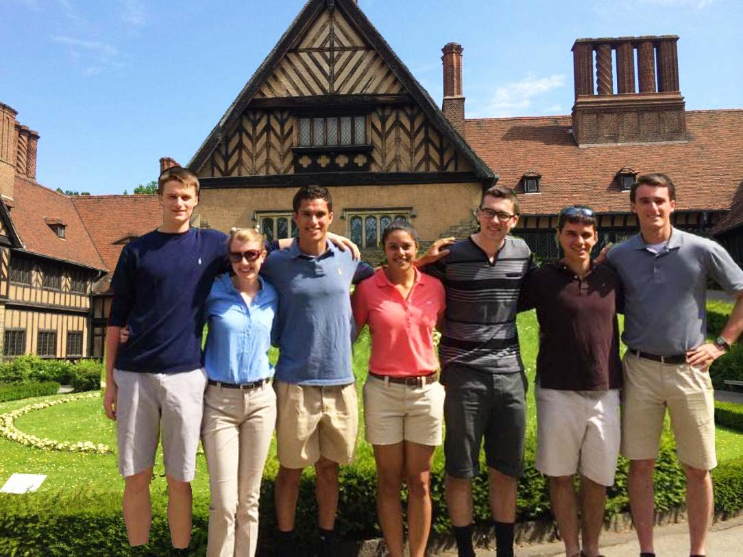 Cadets-Drew Maillet-Andrea Steinke-Jason Sanchez (AFA)-Alyssa Chapman-Ian Holbrook-Andrew Mengle-Anthony Veith-in front of the Cecilienhof Palace