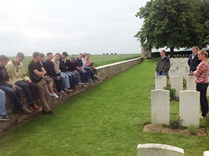 Cadets discuss memory of war at the grave of Rudyard Kipling's son, Jack