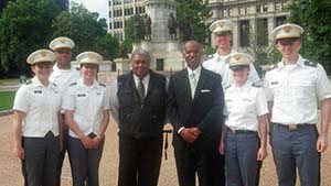 On the grounds of the Virginia State Capitol in Richmond Cadets Miller, Baggett, and Tonetti, Townsend, Golonka, and Reynolds pose with the Hon. John Charles Thomas (left), and the Hon. Roger Gregory (right)