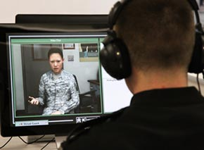 Sim trainer assists cadets in counseling