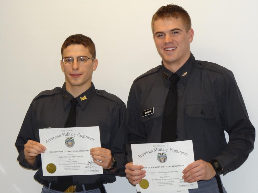 Cadets Adam Leemans and Mitch Johnson display their certificates.