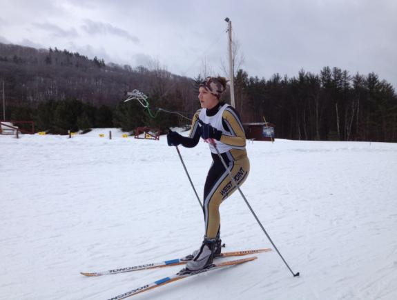CDT Jordan Roth '15, works on her stride during the 10k Skate race at the Army Invitational.