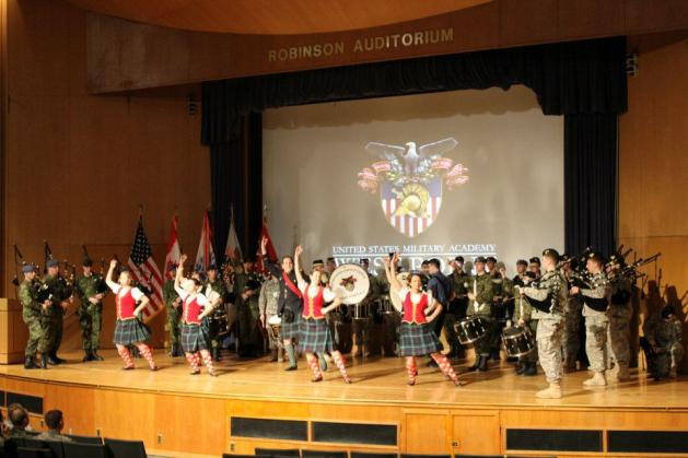 The United States Corps of Cadets Pipes & Drums and the Royal Military College Pipes & Drums.