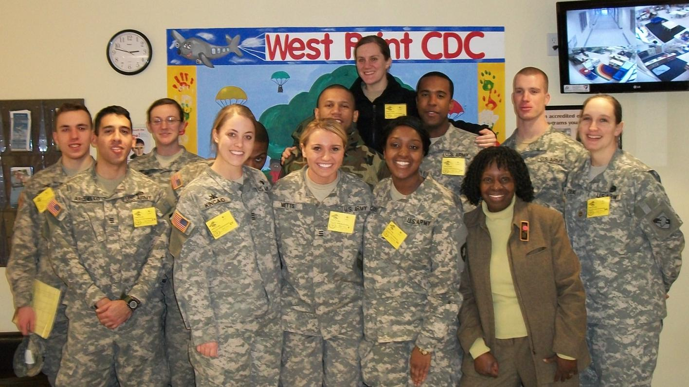 Sociology Majors from PL482: Armed Forces and Society received a tour from the Stony CDC from Ms. Gene Wright as part of learning about Military Families with Instructor MAJ Sharon Edens (far right).