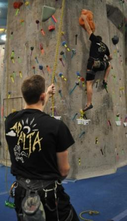Members of the Climbing Team take on the Gravity Vault during the Collegiate Climbing Series Regional Championship.