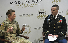 Female Infantry Officer Addresses Cadets