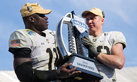 West Point Cadets with Heart of Dallas Bowl Trophy