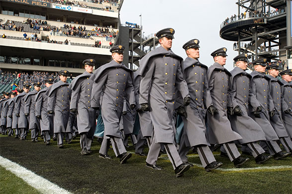 Cadets marching Army Navy Game