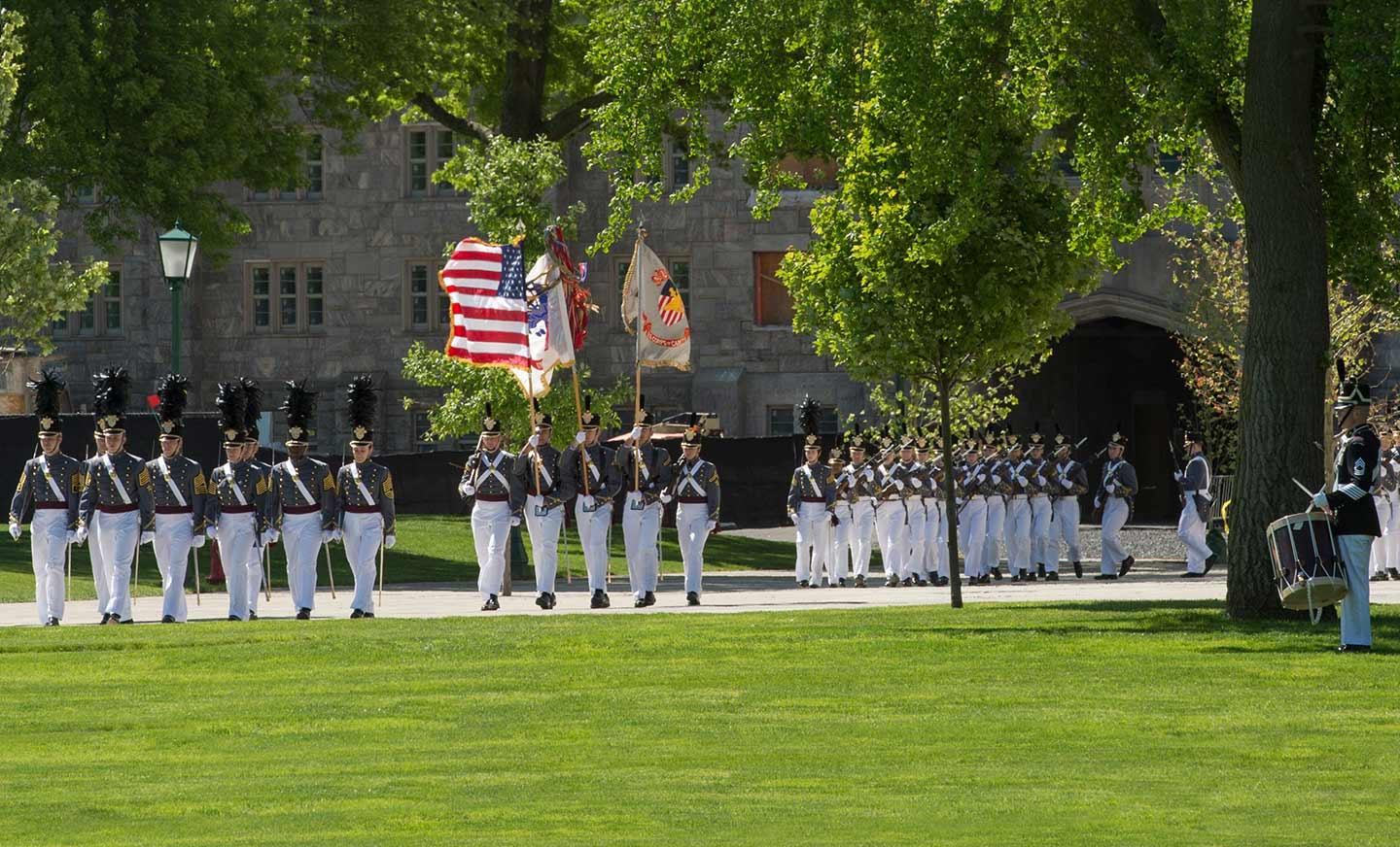 West Point Cadets Parade onto Plain