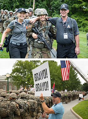Old Grads, Parents Support USMA 2022 March Back from Camp Buckner