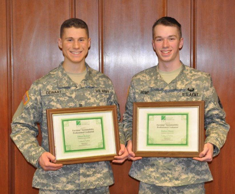 Cadets Ethan Dewart and Robert Hume proudly display their ENV PV Certificates.