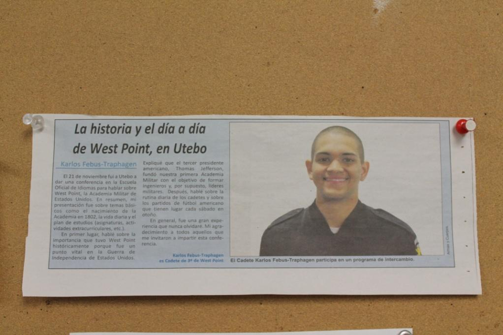 "An article featuring CDT Carlos Febus-Traphagen in the Spanish Army Newspaper ""Armas y Cuerpos."""