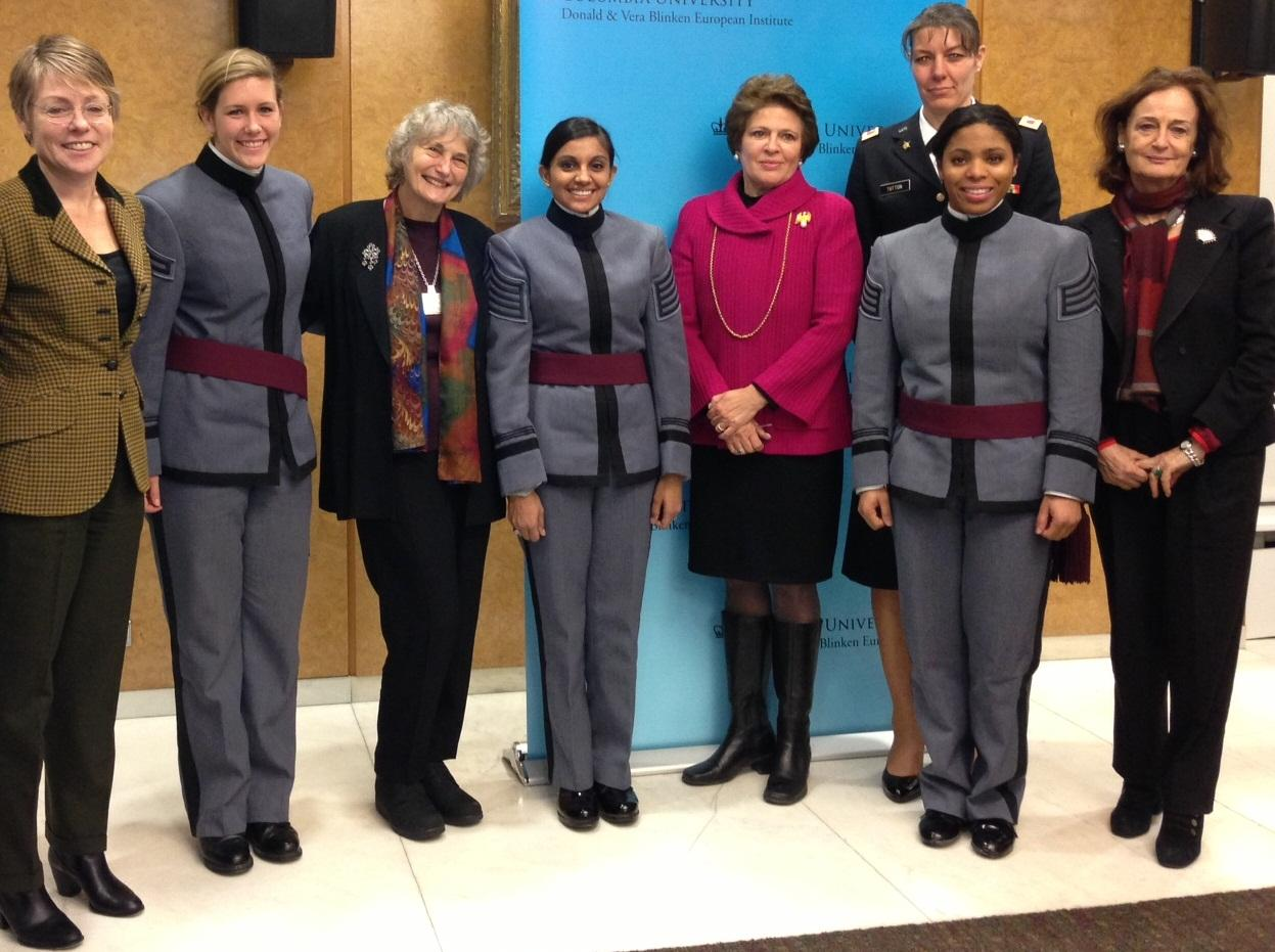 (left to right) Cadets Duckwall ('15) Moore ('14), and Mangru ('14), pose for a picture with panelists (left to right) Dr. Victoria Phillips, Dr. Alice Kessler-Harris, Amb. Fay Hartog-Levin, COL Stephanie Tutton, and Dr. Victoria de Grazia at the Women an